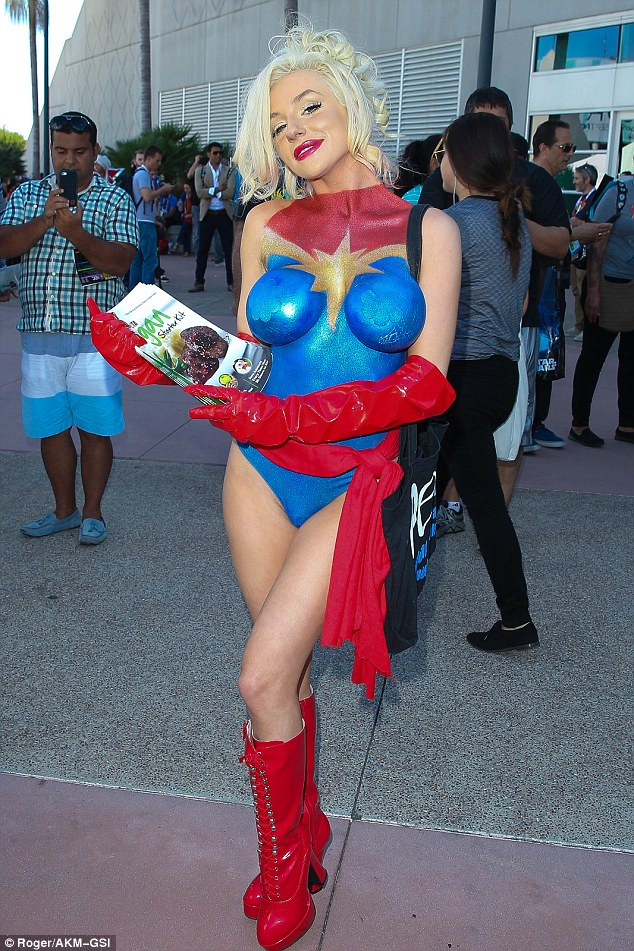 Courtney Stodden arrives at Comic-Con to promote PETA in nothing but body paint
