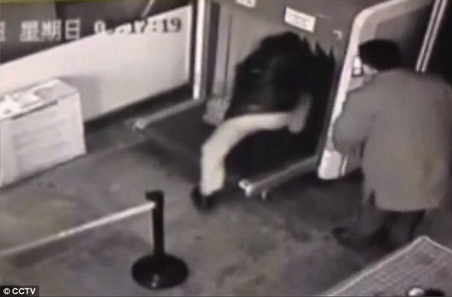 Footage shows traveller climbing into X-ray scanner at airport in China